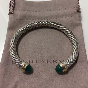 David Yurman 7mm Cable Two Tone Jade Bracelet